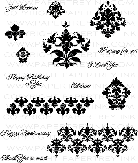 The Vault - Damask Designs Stamp Set: Papertrey Ink Clear Stamps ...