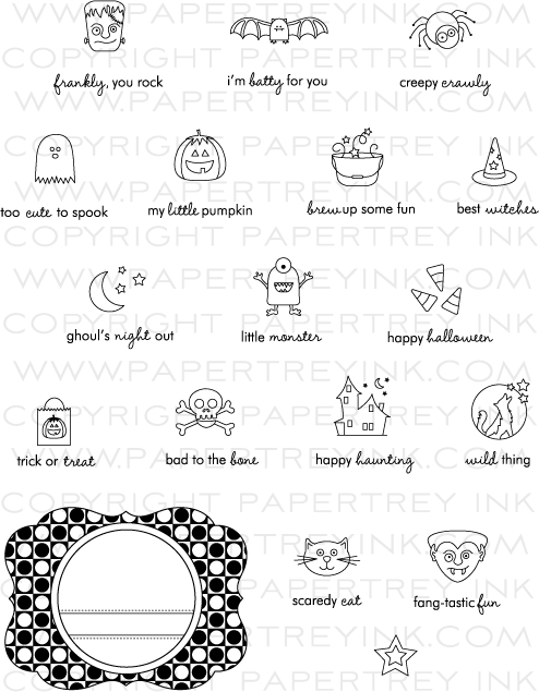 Tiny Treats Halloween Stamp Set Papertrey Ink Clear Stamps Dies