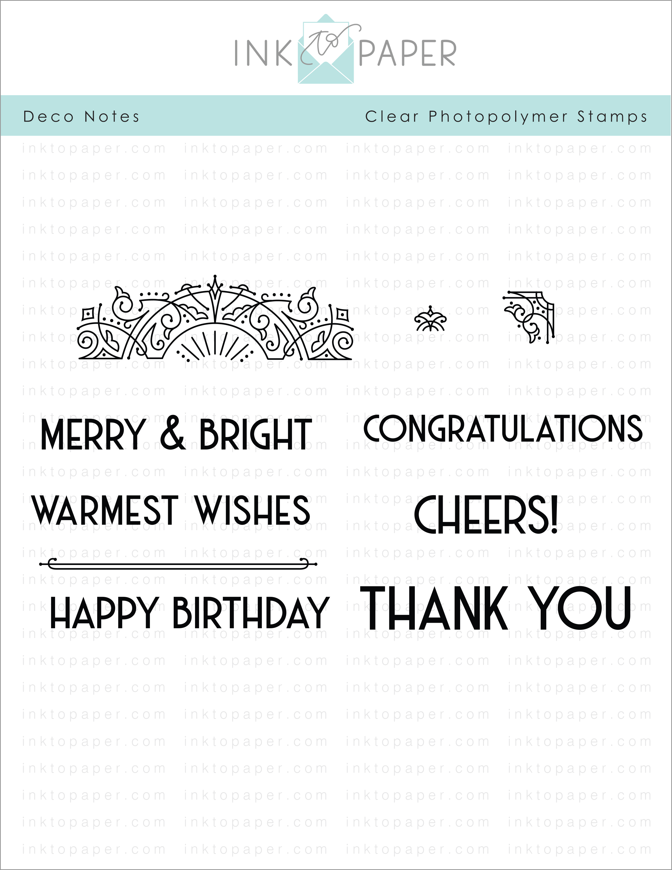 Deco Notes Stamp Set Papertrey Ink Clear Stamps Dies Paper Ink Kits Ribbon