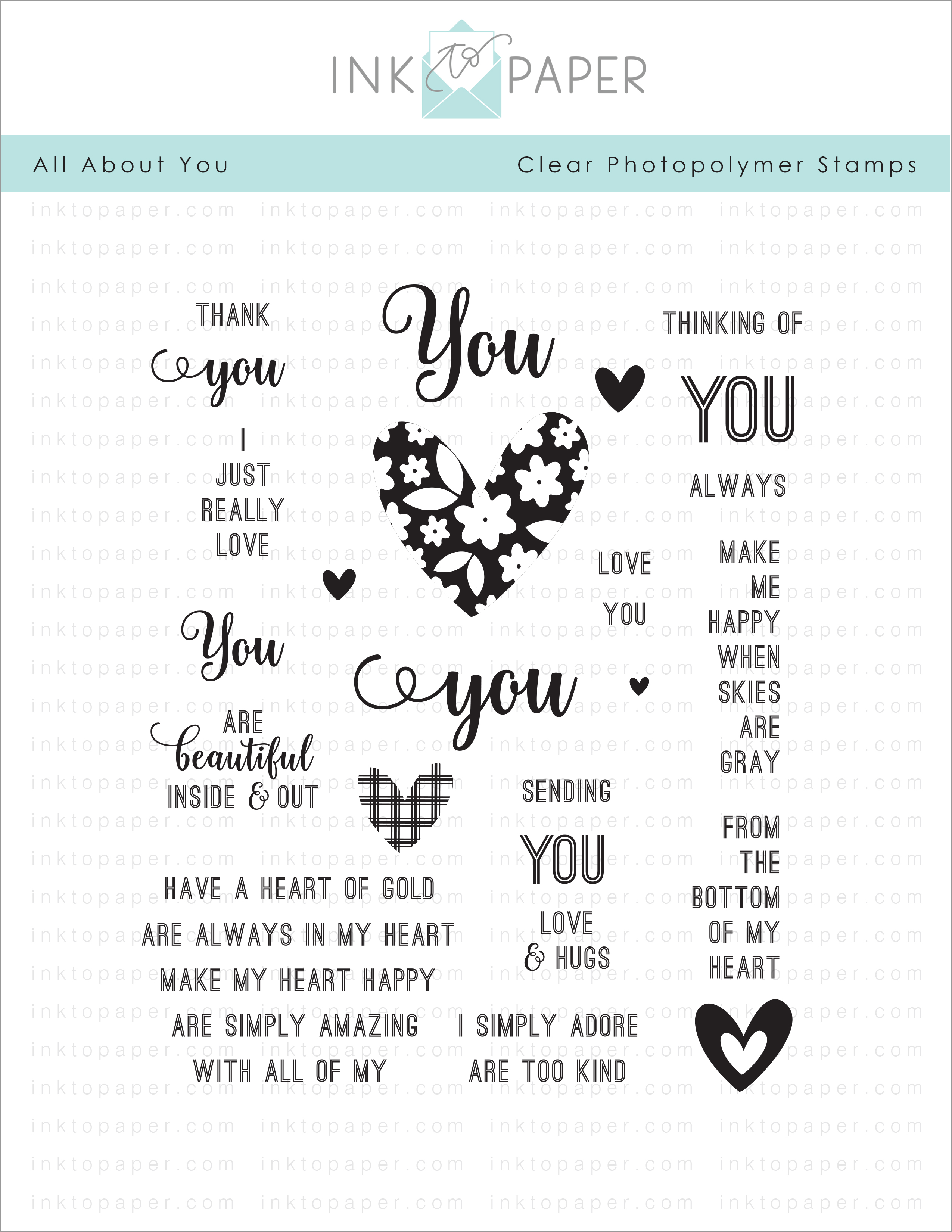 All About You Stamp Set Papertrey Ink Clear Stamps Dies Paper Ink Kits Ribbon