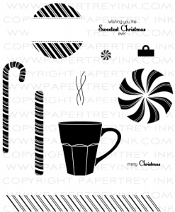 Candy Cane Christmas Stamp Set Papertrey Ink Clear Stamps
