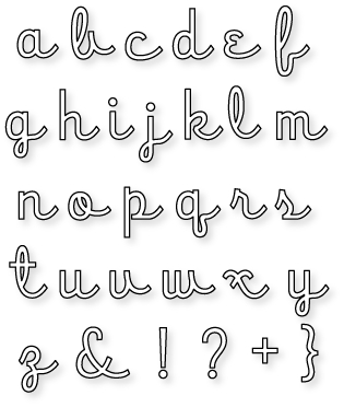 Die Collection papertrey ink script alphabet die collection set of 31