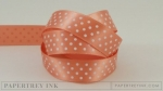 "Melon Berry 5/8"" Satin Dots Ribbon (5 yards)"