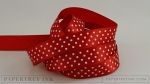 "Pure Poppy 5/8"" Satin Dots Ribbon (5 yards)"